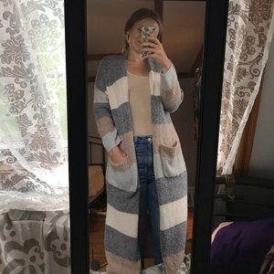Dreamers Open Front Long Cardigan
